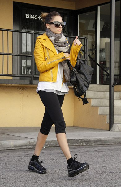 yellow leather jacket black knee length sport