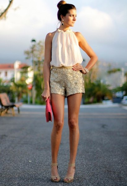 white sleeveless halter gold shorts in sequin