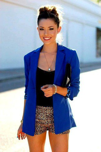 gold mini shorts royal blue blazer