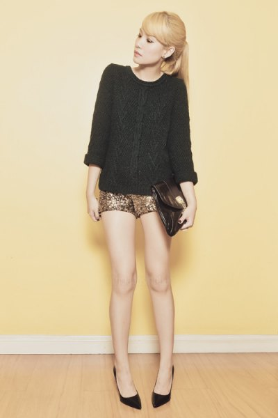 black cable knitted chunky sweater