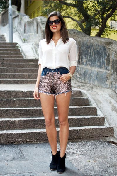 two toned gold sequins shorts white chiffon shirt
