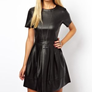 short-sleeved leather in two parts skater dress