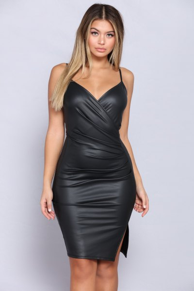 black spaghetti strap wrap leather dress