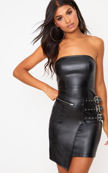 black leather tube dress with zipper at the front