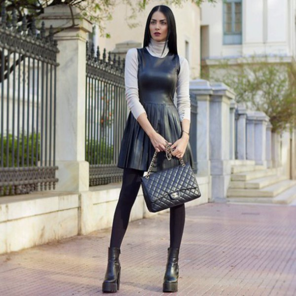 black leather pleated skater dress over sweater neck sweater