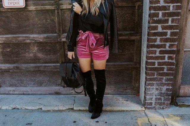 pink belt velvet shorts black leather jacket