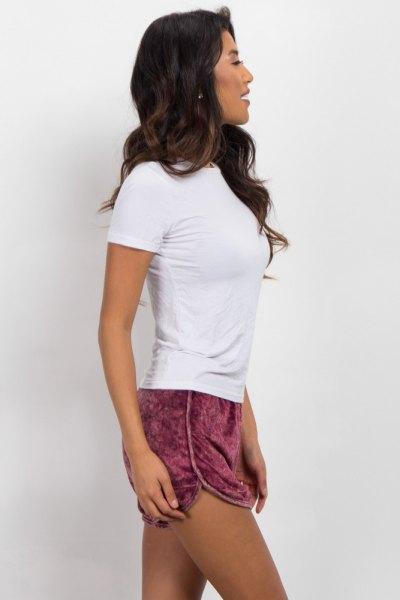 white shape matching t-shirt pink shorts
