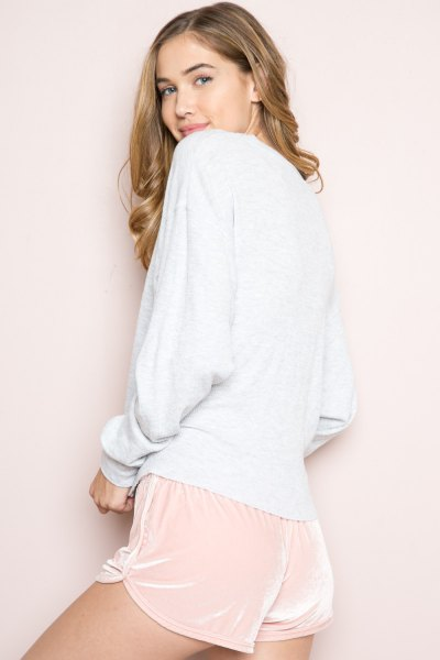 crew white pale pink velvet mini-shorts