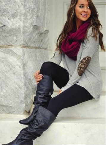 gray long sweater burgundy scarf