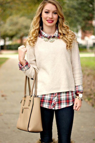white sweater red checkered boyfriend shirt
