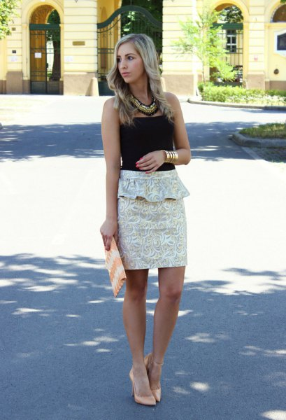 black tube top white floral peplum mini bodycon skirt
