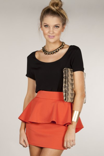 black shirt orange bodycon mini peplum dress