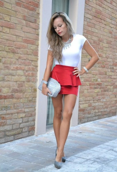 white top orange mini skirt pink heels