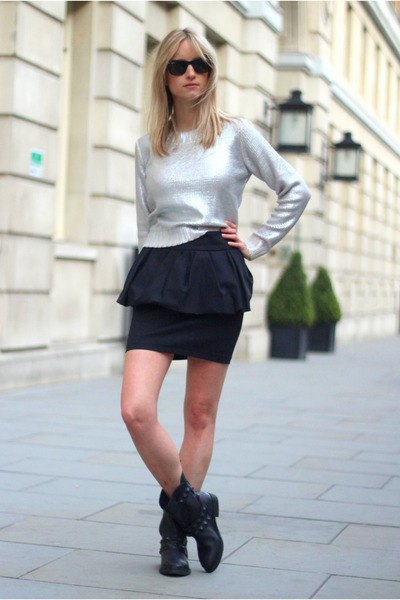silver sweater black mini skirt