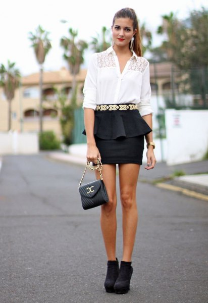 white blouse black mini skirt