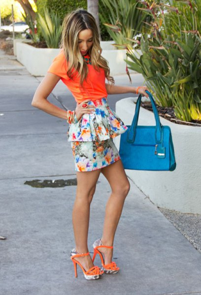orange shirt white floral skirt