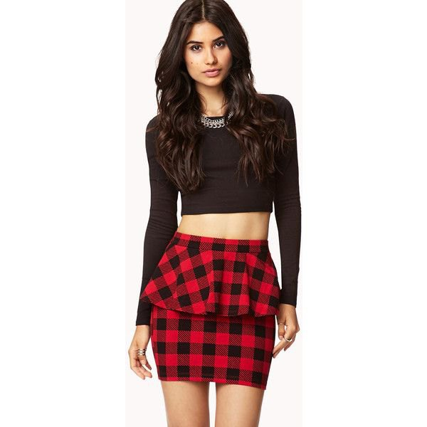 black long sleeve crop top red checkered peplum skirt