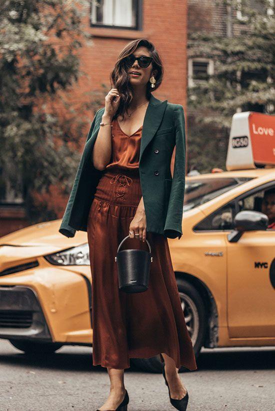 green blazer bronze dress
