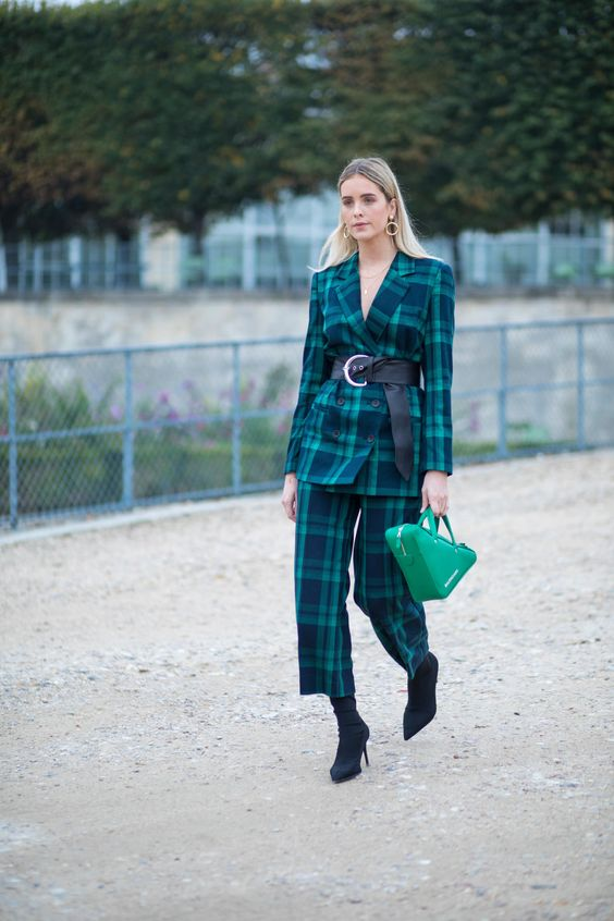 green blazer plaid pants