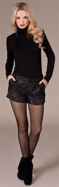 black sequin shorts turtleneck shape fitting knit sweater