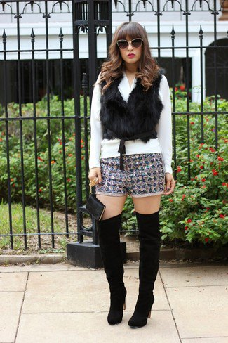 silver and black patterned wool shorts in a fur vest