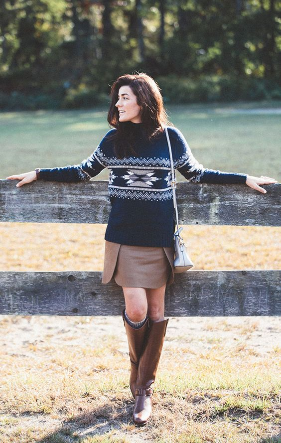 brown riding boots winter sweater