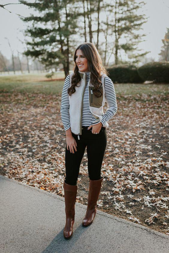 brown riding boots breton shirt