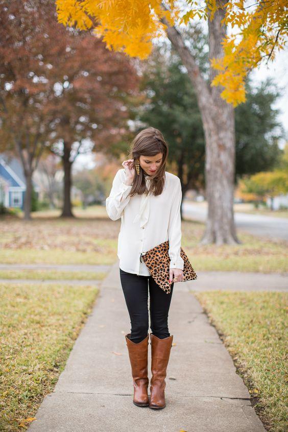 brown riding boots leopard details