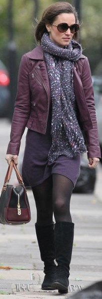 leather jacket purple shift dress scarf
