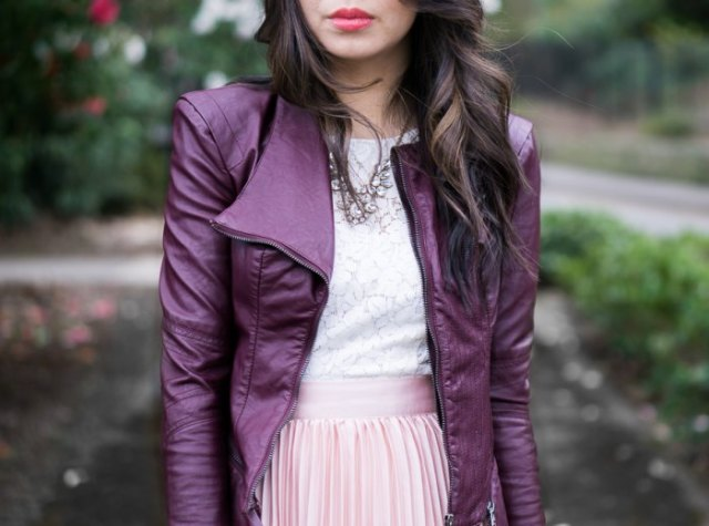 purple leather jacket white lace top pink pleated skirt