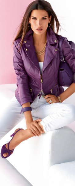 purple leather jacket white jeans