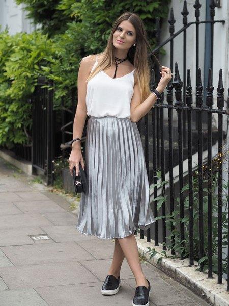 white vest top silver pleated midi skirt