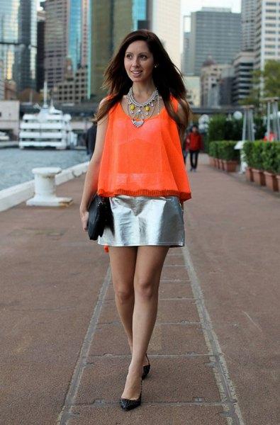 orange half pure chiffon sleeveless top silver metallic skirt