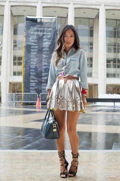 chambray shirt silver floral skater dress