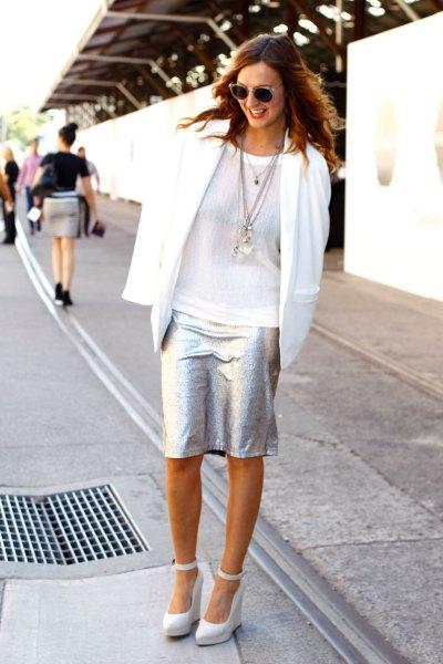 white casual blazer silver knee length skirt