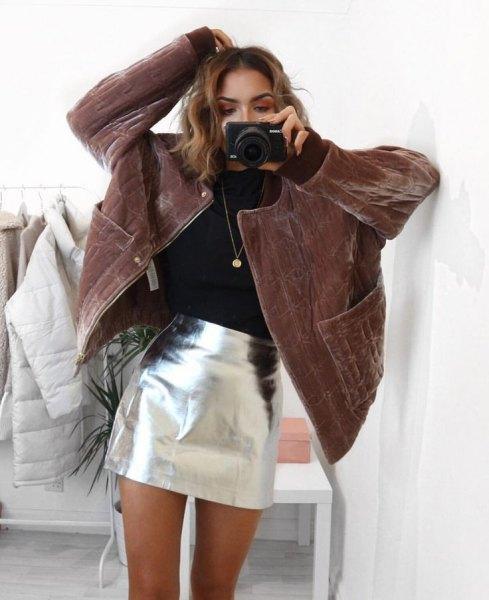 brown corduroy rock silver mini skirt