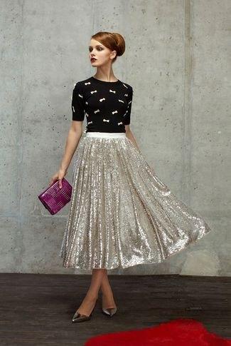 black cartoon printed shirt silver sequin pleated midi skirt