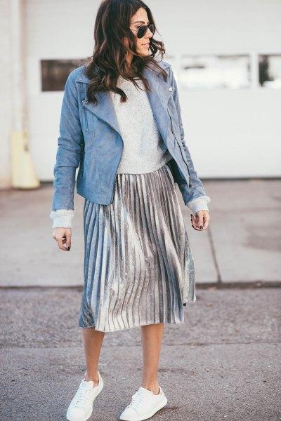light blue suede jacket gray sweater