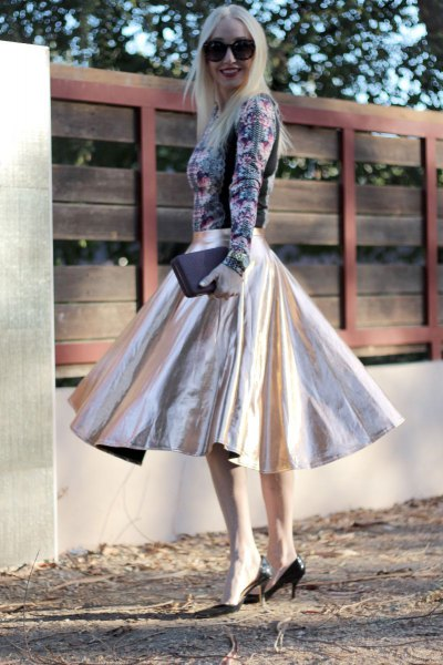 floral long-sleeved top silver blown midi skirt