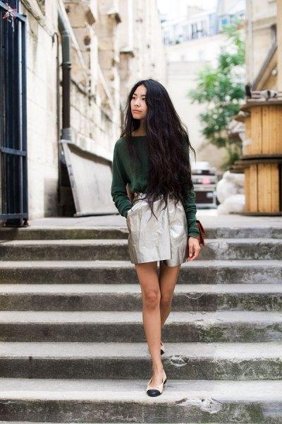 gray sweater silver metallic mini wrap skirt