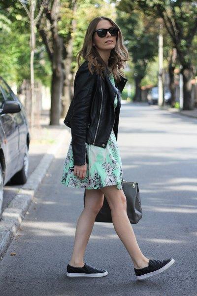 black leather jacket white mini dress