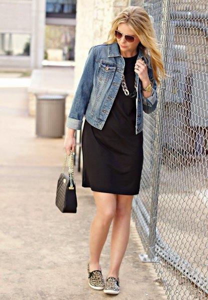 denim jacket black shift dress cheetah sneakers