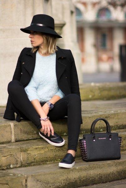 black slip on shoes wool felt hat