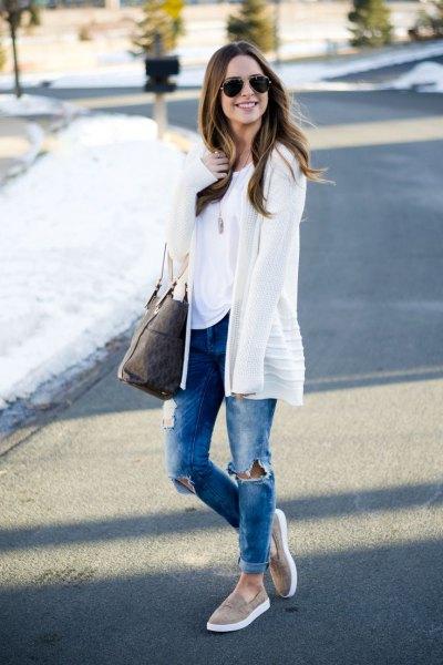 gray slip on white white cardigan jeans