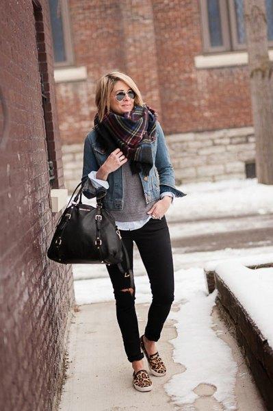 denim jacket black jeans cheetah slip on shoes