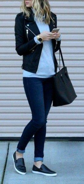 black leather slip on shoes blazer skinny jeans