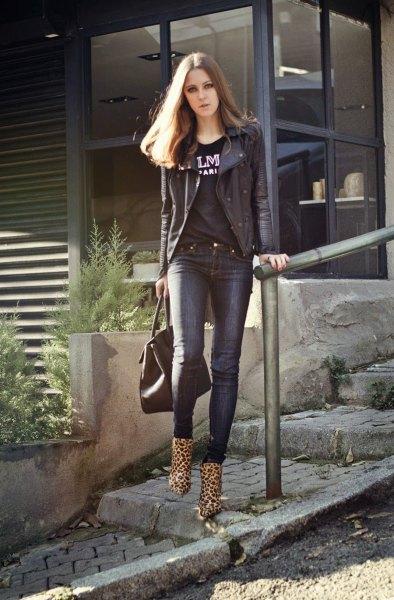 leopard print anklebots black moto jacket print tee