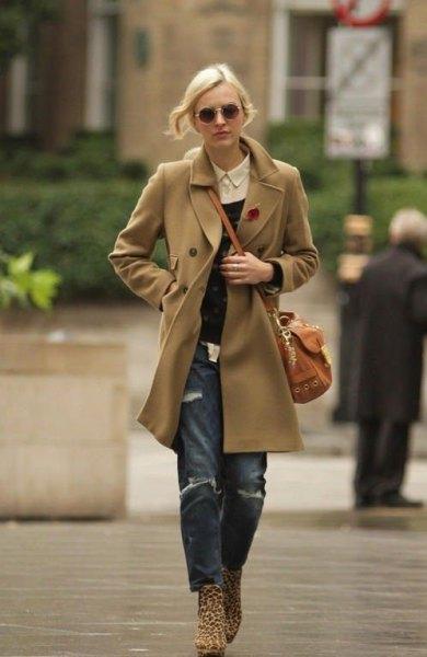 camel wool jacket boyfriend jeans