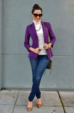 purple blazer white turtleneck sweater