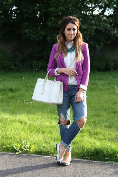 purple blazer white button up shirt boyfriend jeans